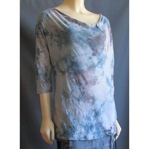 XCVI Blue Purple Tie Dye Lace Top M